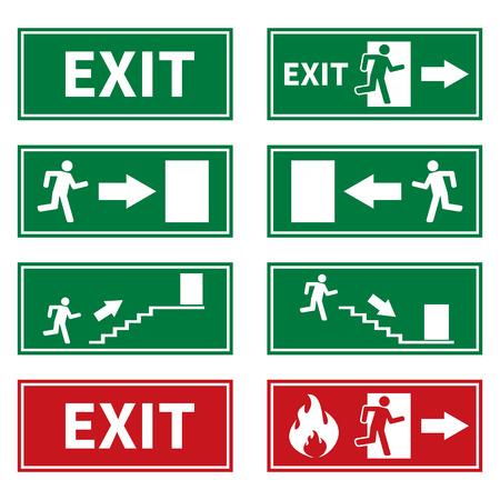salida de emergencia: Emergencia De Incendios Señales Vectores
