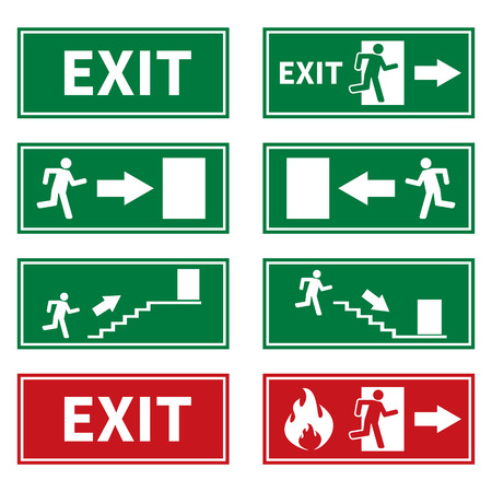 of fire: Emergency Fire Exit Signs
