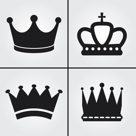 crown silhouette: Crown Icons Illustration