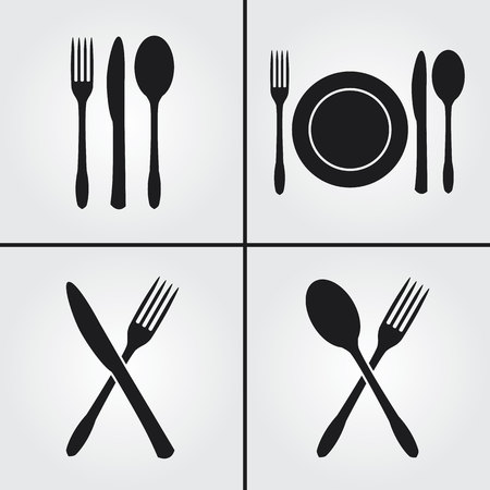 Bestek Restaurant Icons Stock Illustratie