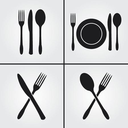 Sztućce Restauracja ikony Ilustracje wektorowe