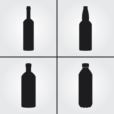 alcool: Bouteille Icônes Illustration
