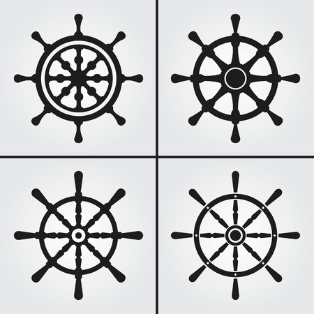 Steuerruder: Rudder Icons Illustration