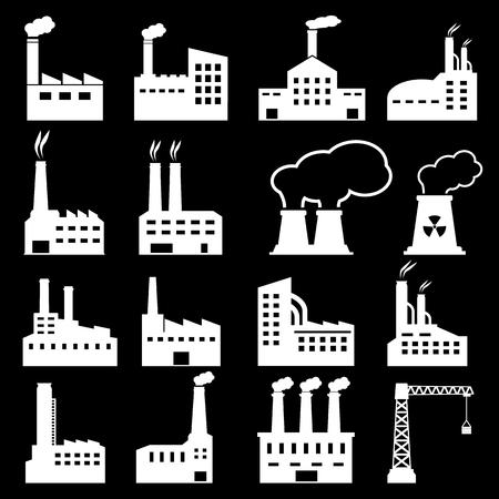 hazardous work: Factory Icons Illustration