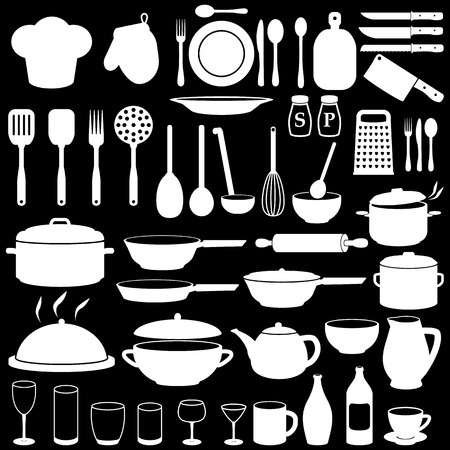 measuring spoons: Kitchen Cooking Icons Set Illustration