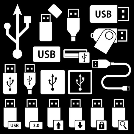 usb cable: USB Icons Illustration