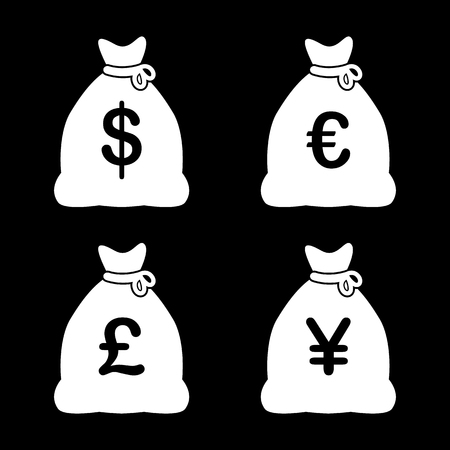 foreign exchange rates: Money Bag Icons