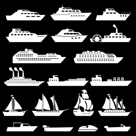 fishing boats: Ship Boat Icons Set Illustration