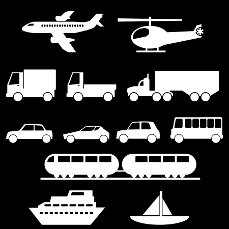 vessel: Transportation Icons Set Illustration
