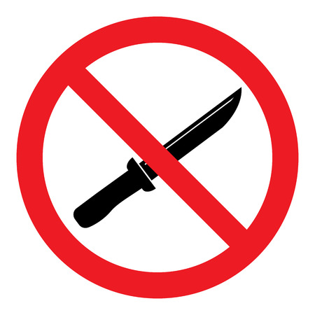 illegal zone: No Knife Sign Illustration