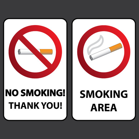 hazard damage: No Smoking And Smoking Signs Labels