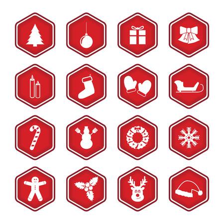 long socks: Set Of Christmas And New Year Icons