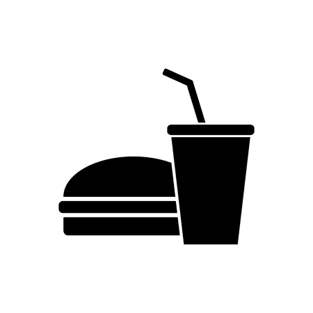 drink food: Fast and Junk Food Icon. Hamburger and Drink.