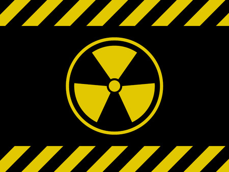 Radiation Sign Background. Black and Yellow Board