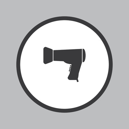grey hair: Hair dryer icon in white circle on grey background