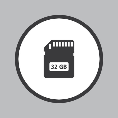 micro chip: Memory SD Card icon in white circle on grey background