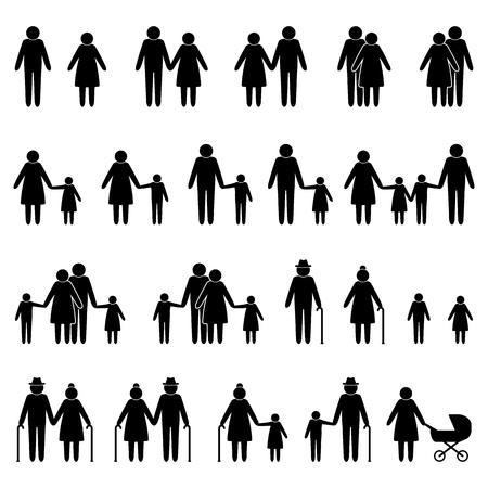 人の家族のアイコンを設定  イラスト・ベクター素材