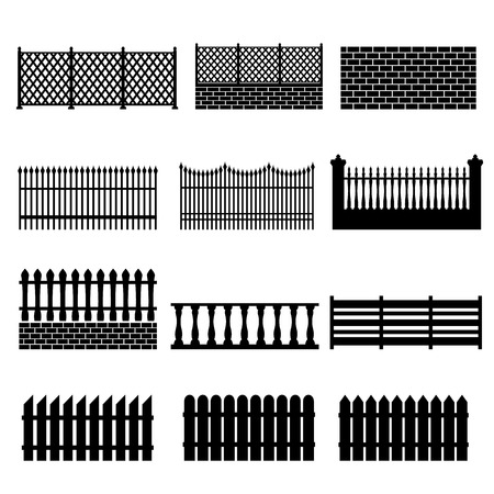 front gate: Fence Icons Illustration