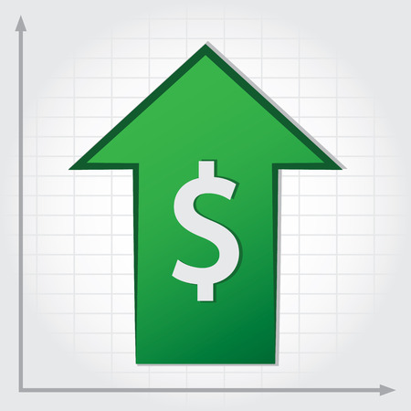 dollar symbol: Dollar Increase Graph. Dollar symbol with green growth arrow