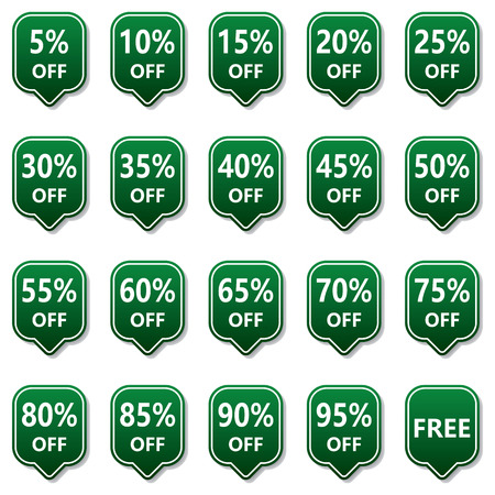 discount tag: Green Discount Price Tag Label Illustration