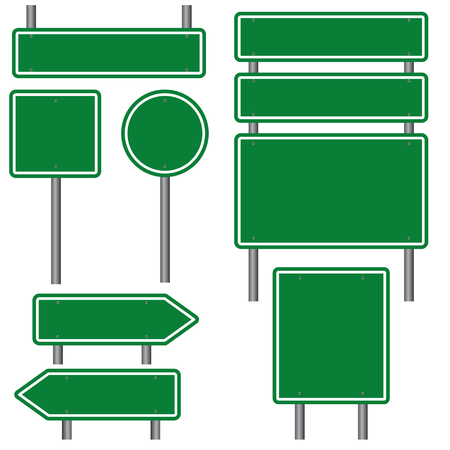 green road: Blank Green Road Signs