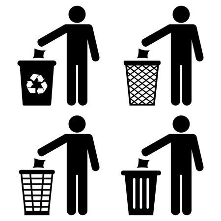 wastepaper basket: Garbage Recycling Symbol