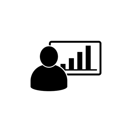 Man And Graphic Chart Icon. Business Manager Vector Illustration 向量圖像