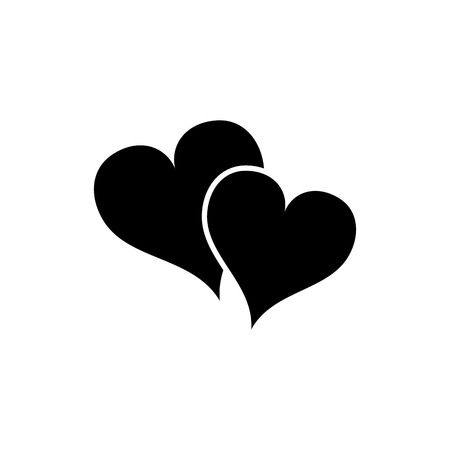 Two Hearts Love Icon. Flat Style Vector Illustration Illustration