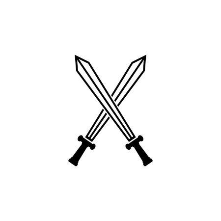cross match: Crossed Swords Icon. Flat Style Vector Illustration
