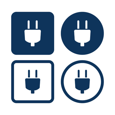 electric blue: Electric Plug Icon. Vector Blue Buttons Illustration