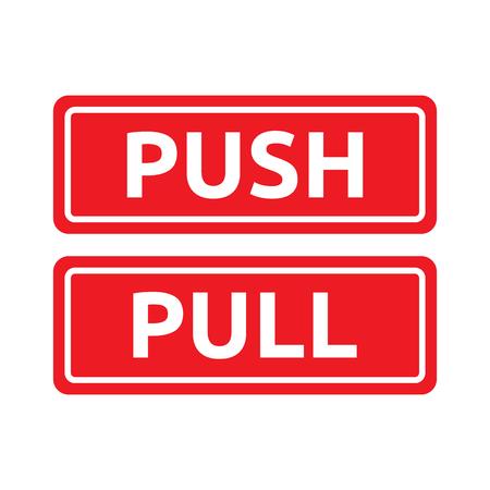 Push Pull Red Tag Signs Reklamní fotografie - 77068390