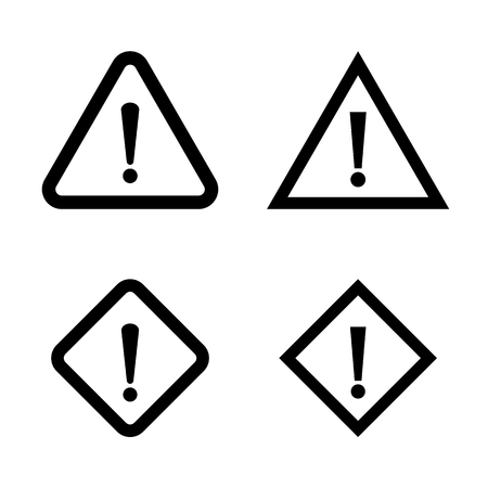 Warning Exclamation Signs. Vector Icons Illustration