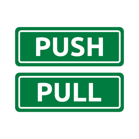 note board: Push Pull Green Tag Signs Illustration