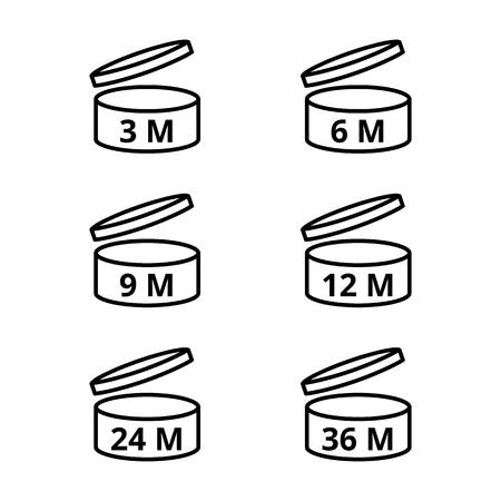 Na het openen, gebruik ikconen. Vervaldatum vector symbolen, 3, 6, 9, 12, 24, 36 maanden.