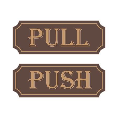 Push Pull Brown Tag Signs