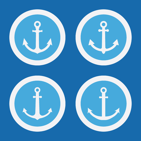 anchored: Anchor Port Icons In Blue Circles. Simple Vector Symbols