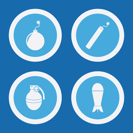 detonating fuse: Bomb Icons In Blue Circles. Simple Vector Symbols Illustration