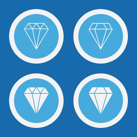 Diamond Icons In Blue Circles. Simple Vector Symbols