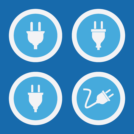 plug in: Electric Plug Icons In Blue Circles. Simple Vector Symbols Illustration