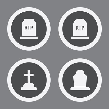 Grave Icons In Grey Circles. Simple Vector Symbols Vektoros illusztráció