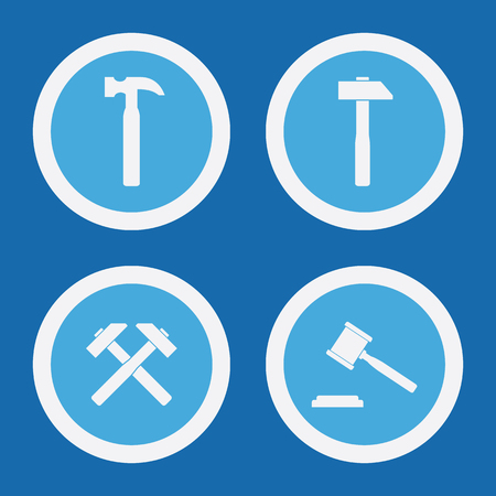 hammers: Hammer Icons In Blue Circles. Simple Vector Symbols