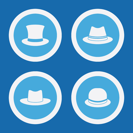 stovepipe hat: Hat Icons In Blue Circles. Simple Vector Symbols Illustration