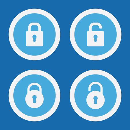 Lock Icons In Blue Circles. Simple Vector Symbols Ilustração