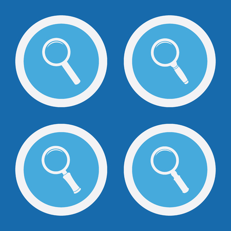 scrutiny: Magnifier Glass Icons In Blue Circles. Simple Vector Symbols