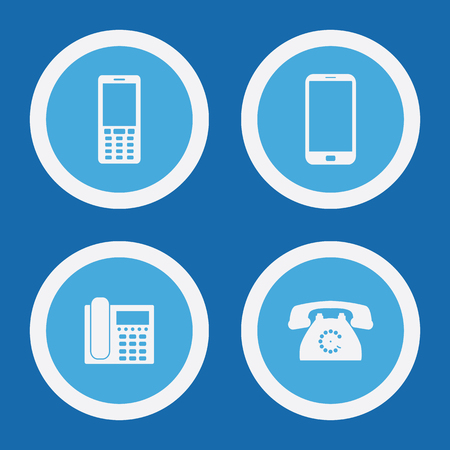 outbound: Phone Icons In Blue Circles. Simple Vector Symbols