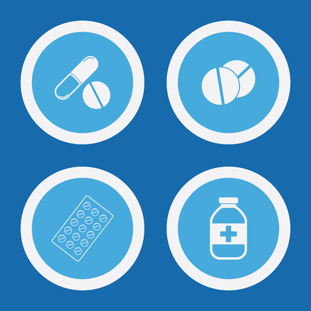 medical symbols: Medical Pill Icons In Blue Circles. Simple Vector Symbols