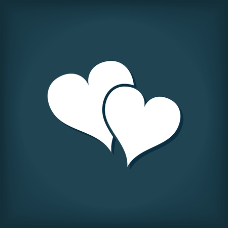 Two Hearts Love Icon. Flat Style Vector Illustration 向量圖像