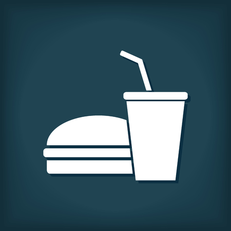 Fast and Junk Food Icon. Hamburger and Drink.