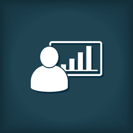 Man And Graphic Chart Icon. Business Manager Vector