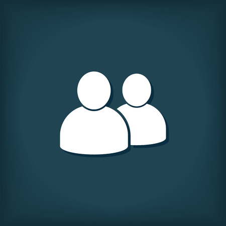 People Two Person Icon. Flat Style Vector Illustration
